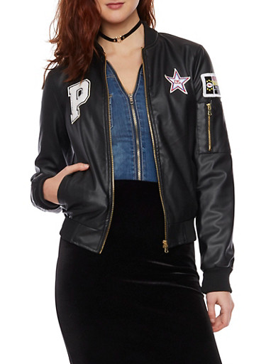 Faux Leather Bomber Jacket with Patches,BLACK,large