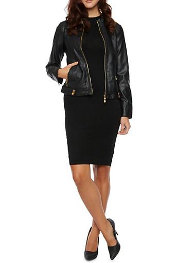 Faux Leather Jacket with Moto Paneling,BLACK,large