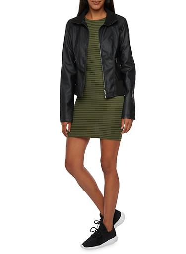 Faux Leather Jacket with Paneling,BLACK,large