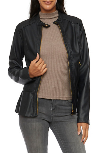 Faux Leather Jacket with Peplum Paneling,BLACK,large