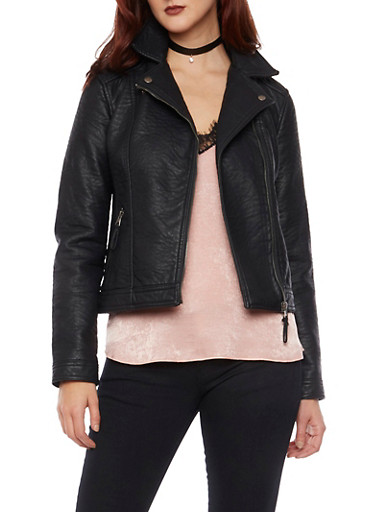 Faux Leather Biker Jacket with Zip Pockets,BLACK,large