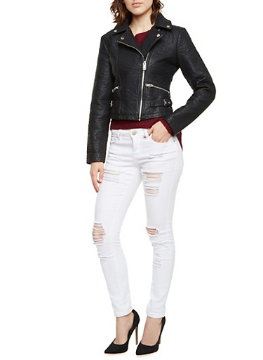 Faux Leather Moto Jacket,BLACK,large
