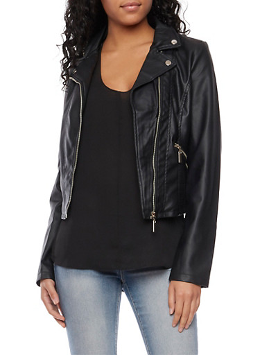 Leather Motorcycle Jacket with Zip Pockets,BLACK,large