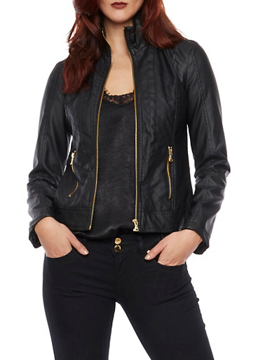 Quilted Faux Leather Moto Jacket,BLACK,large