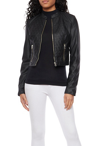 Faux Leather Jacket with Quilted Panels,BLACK,large