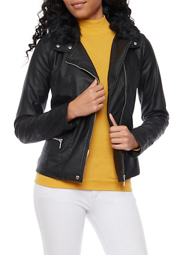 Moto Jacket with Faux Fur Trim,BLACK,large
