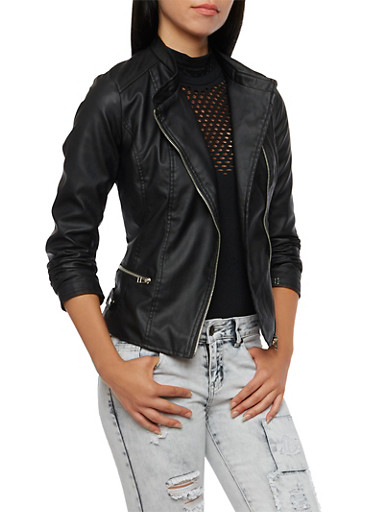 Faux Leather Jacket with Asymmetrical Zipper,BLACK,large