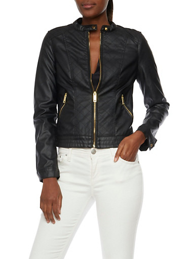 Faux Leather Jacket with Quilted Paneling,BLACK,large