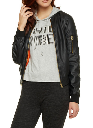 Faux Leather Bomber Jacket with Zip Front,BLACK,large