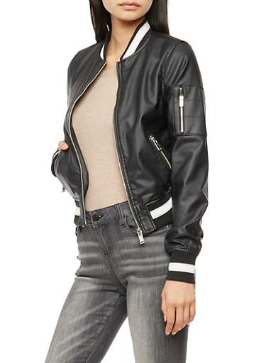 Faux Leather Varsity Stripe Bomber Jacket,BLACK,large