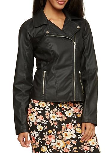 Faux Leather Moto Jacket,BLACK,large