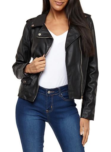Tabbed Shoulder Faux Leather Moto Jacket,BLACK,large