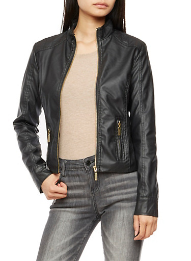 Faux Leather Quilted Trim Jacket,BLACK,large