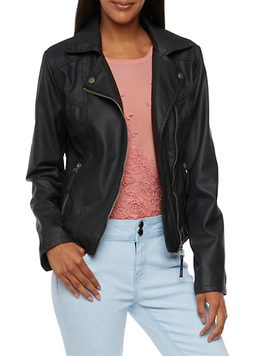 Moto Jacket in Faux Leather,BLACK,large