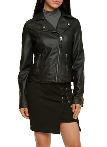 Zip-Up Moto Jacket with Two Pockets,BLACK,large