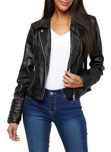 Button Collar Faux Leather Moto Jacket,BLACK,large
