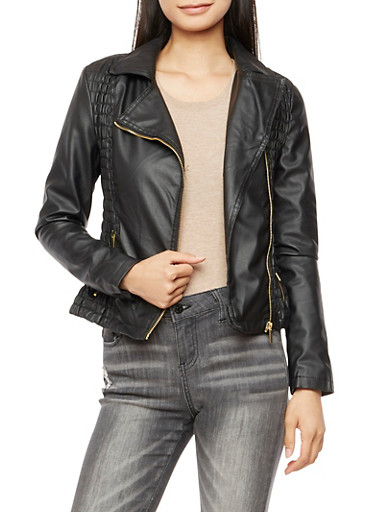 Faux Leather Multi Ruched Jacket at Rainbow Shops in Daytona Beach, FL | Tuggl