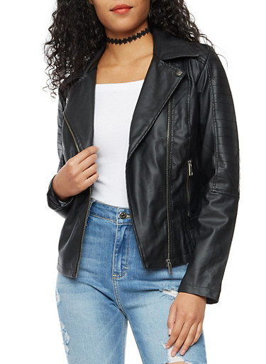 Quilted Zip Front Faux Leather Moto Jacket,BLACK,large