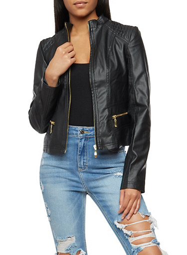 Stitched Faux Leather Zip Up Jacket,BLACK,large