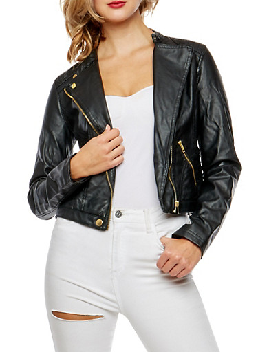 Faux Leather Side Zip Jacket,BLACK,large