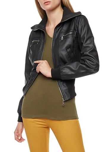 Faux Leather Rib Knit Trim Jacket,BLACK,large