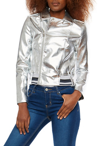 Silver Metallic Faux Leather Moto Jacket,SILVER,large