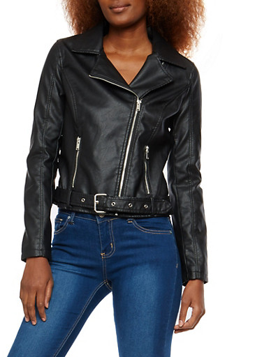 Faux Leather Belted Waist Moto Jacket,BLACK,large