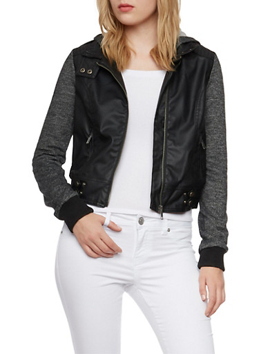 Faux Leather Moto Jacket with Knit Sleeves and Hood,BLACK,large