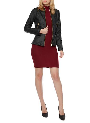 Faux Leather Zip Front Peplum Jacket,BLACK,large
