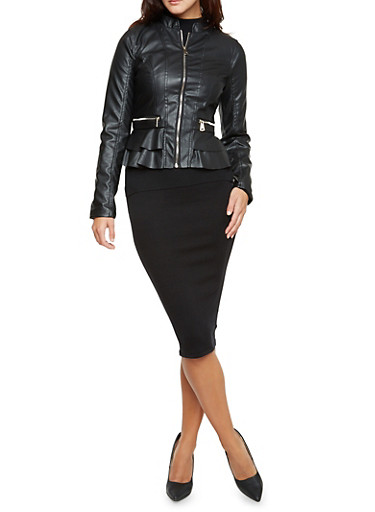 Faux Leather Moto Jacket with Peplum Hem,BLACK,large