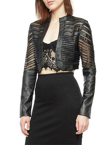 Faux Leather Mesh Shadow Stripe Bolero Jacket,BLACK,large