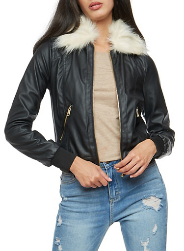 Faux Leather Bomber Jacket with Removable Collar,BLACK,large