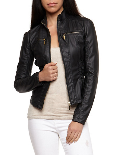 Faux Leather Ruched Jacket,BLACK,large
