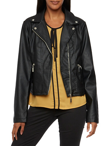 Faux Leather Moto Jacket with Zip Pockets,BLACK,large