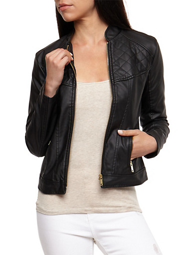 Faux Leather Quilted Jacket,BLACK,large