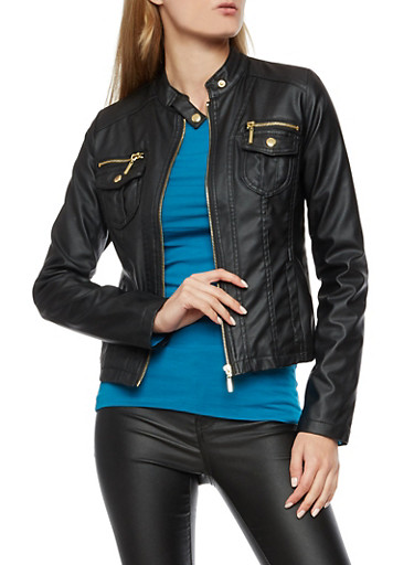 Faux Leather Zip Front Jacket,BLACK,large