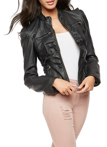 Faux Leather Ruched Side Jacket,BLACK,large