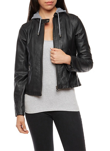 Faux Leather Knit Hooded Jacket,BLACK,large