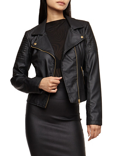 Faux Leather Zip Moto Jacket,BLACK,large