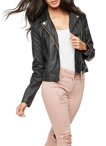 Faux Leather Quilted Moto Jacket,BLACK,large