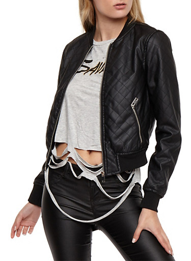 Quilted Faux Leather Bomber Jacket,BLACK,large