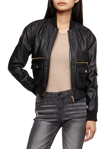 Faux Leather Bomber Jacket,BLACK,large