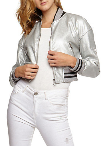 Faux Leather Metallic Bomber Jacket,SILVER METALLIC,large