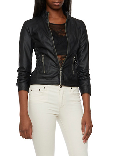 Faux Leather Jacket with Ruched Panels,BLACK,large