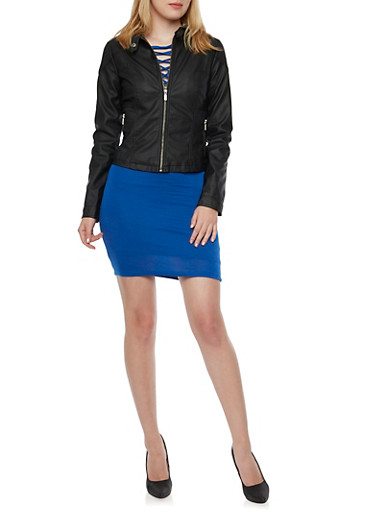 Faux Leather Jacket with Attached Knit Hood,BLACK,large