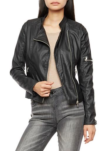 Faux Leather Stitched Moto Jacket,BLACK,large