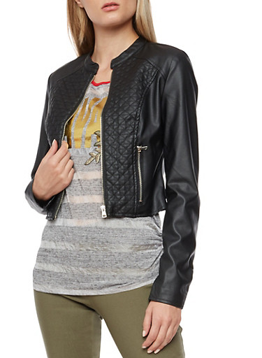 Quilted Faux Leather Zip Front Jacket,BLACK,large