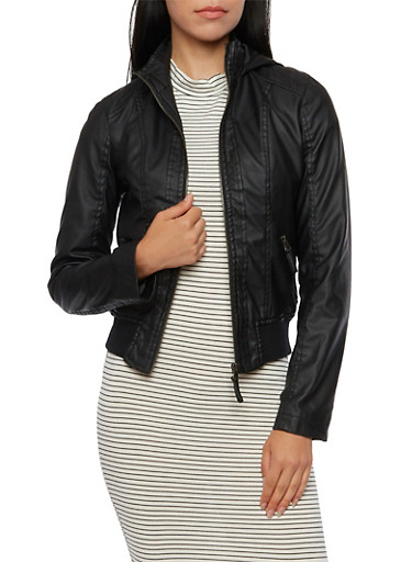 Hooded Faux Leather Jacket,BLACK,large