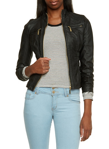 Zip Front Faux Leather Jacket,BLACK,large