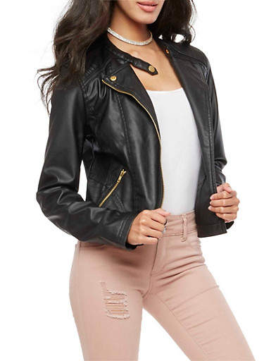 Faux Leather Stitched Moto Jacket,BLACK,large